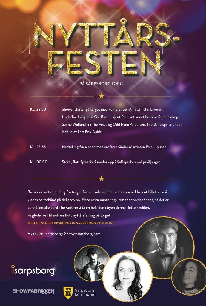 Program for nyttårsfest på torget. Illustrasjon/Foto.