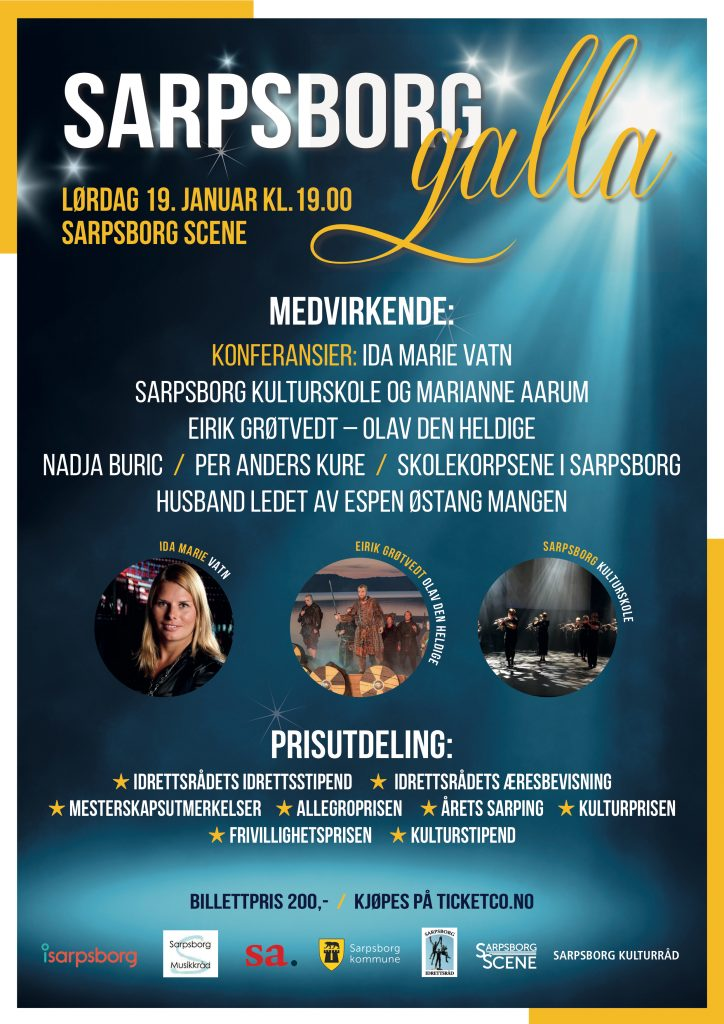 Plakat for Sarpsborg galla 2019. Foto.