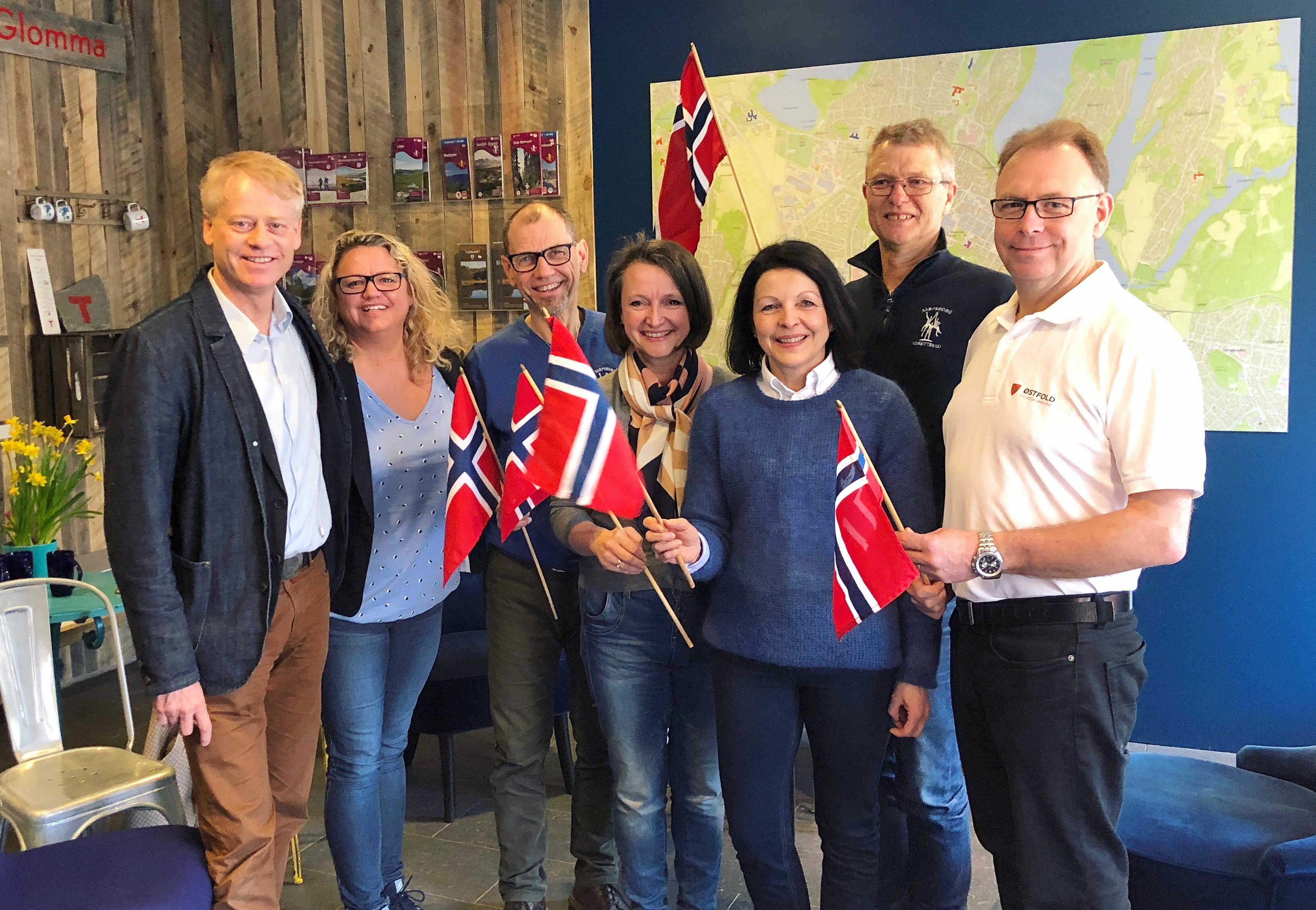 isarpsborg og samarbeidspartnere feirer at VM-veka kommer til Sarpsborg. Foto.