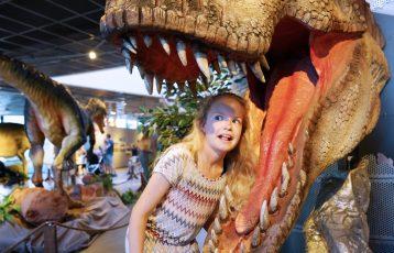 En jente ved en dinosaurmodell på Inspiria science center. Foto.
